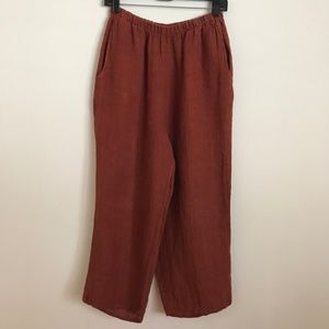 FLAX Linen Pants Orange Wide Leg Pull Up S